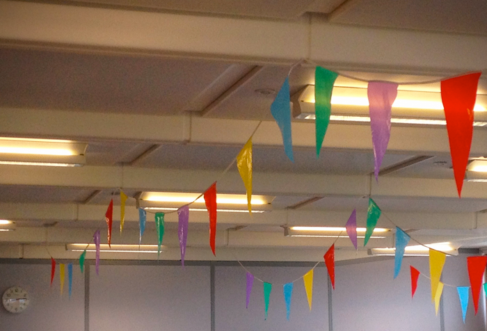 bunting in the office